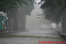 Tả cảnh đường phố nơi em ở lúc trời đang kéo mây đen và cơn mưa ập đến